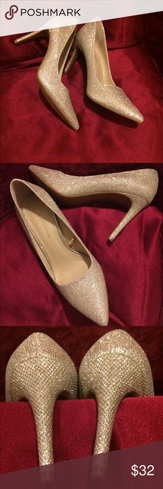 BCBG Max Azria Champagne Sparkle pumps Beautiful shoes! Worn a few times, mostly indoors so still in great condition. BCBGMaxAzria Shoes Heels