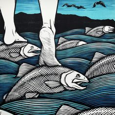Cross the River on the Backs of the Salmon / 3 color Peter Nevins, who works in Oregon. Woodcut Art, Linocut Prints, Art Prints, Scratch Art, Fish Art, Native Art, Art Inspo, Painting & Drawing, Fantasy Art