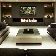 36 Amazing TV Wall Design Ideas For Living Room Decor - homepiez - 36 Amazing T. - 36 Amazing TV Wall Design Ideas For Living Room Decor – homepiez – 36 Amazing T… – 36 Ama - Living Room Decor Fireplace, Modern Fireplace, Fireplace Design, Fireplace Ideas, Decorative Fireplace, Black Fireplace, Fireplace Tv Wall, Fireplace Screens, Fireplace Inserts