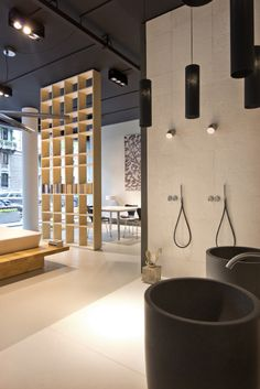 NEUTRA Flagship Store in milan - water_wellness_stone. #bathroom #spa #design #wash-basin