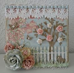 Card Created With Diemond Dies Realistic Roses Die Set, Mini Must Haves Die Set, Grass Border, Picket Fence, Bare Tree, and Fancy Flourish D...