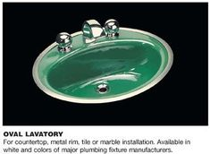 """Two metal-rim bathroom sinks with 8"""" faucet spreads -- the only source I know of - Retro Renovation"""
