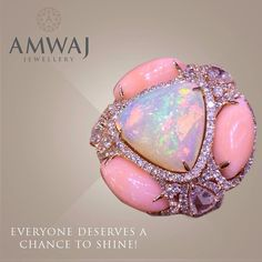 Shine bright with Amwaj Jewellery... Opal, Pink Opal, Amethyst and diamond ring