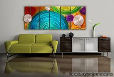 Contemporary Metal Abstract Wall Art / Prismatic Color Elation Multiple Panel Sculpture