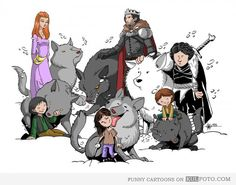 Stark children - Funny cartoon with the kids of the Starks from Game of Thrones.