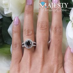 Round cut with halo Black Diamond Wedding Rings, Black Diamond Necklace, Diamond Rings, Halo, Gems, Engagement Rings, Style, Enagement Rings, Swag