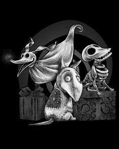 Tim Burton T-Shirt by Manuel D'Andrea aka ManuelDA. Creepy Dogs from Tim Burton movies. Want to adopt three little creepy dogs? Tim Burton Kunst, Tim Burton Art, Fröhliches Halloween, Halloween Season, Jack Skellington, Coraline, Creepy, Nightmare Before Christmas Tattoo, Tim Burton Characters
