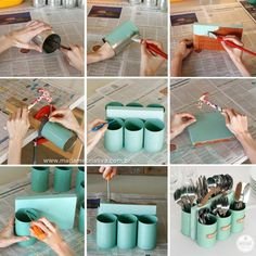 Madame Criativa's most famous Project! How to make cutlery Holders using tin cans. Tutorial in English and portuguese. Como fazer um porta talheres, porta lápis, porta ferramentas com latas Fun Diy Crafts, Home Crafts, Diy Home Decor, Arts And Crafts, Room Decor, Decor Crafts, Soup Can Crafts, Tin Can Crafts, Diy Projects To Try