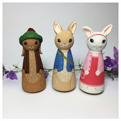 Original peg doll creations by Gabe & Penny by GabeAndPenny Wood Peg Dolls, Clothespin Dolls, Wooden Pegs, Wooden Crafts, Peter Rabbit And Friends, Cute Clay, Diy Crafts For Kids, Craft Ideas, Diy Doll