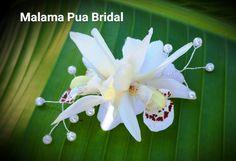 Bridal Headpiece, White orchid, Tropical flower, Hair accessory, Silk Flower, clip, Bridesmaid, Wedding, Beach wedding, Hawaii, Fascinator by MalamaPuaBridal on Etsy