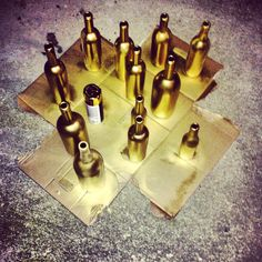 DIY diva. Gold spray paint and wine bottles