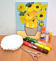 replicate Picasso's flowers with Elmer's Board Mate and coffee filters