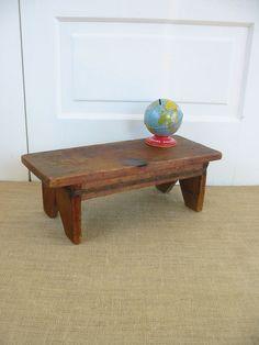 Vintage Primitive Wood Stool Bench Ottoman Rustic by vintagejane, $34.00