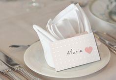 """Namenskarte Tischkarte """"Herzchen"""" zum Beschriften von Papeterie Jolie ♥"""