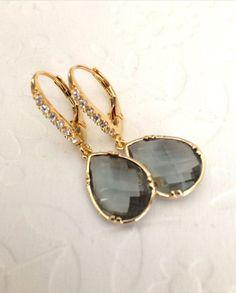 Weddings earrings / Preppy Dangle Drop earrings / Black diamond gold leverback earrings/ Bridesmaids gifts / Gemstone / valentines day