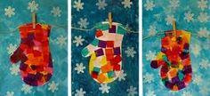 Arts Activity -- Tissue Paper Mittens --(website is in French, but beautiful ideas! Winter Art Projects, Winter Crafts For Kids, Art For Kids, Arte Elemental, Classe D'art, Kindergarten Art Lessons, January Crafts, Arts And Crafts, Paper Crafts