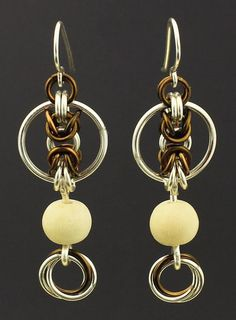 This listing is for everything you need to make these spectacular Byzantine Circles earrings with Natural Cheesewood bead accents. I have