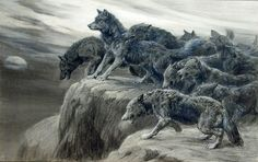 "art-and-things-of-beauty: ""  Herbert Thomas Dicksee (1862-1942) - A pack of wolves howling at the moon, mixed media, 47 x 69,5 cm. """