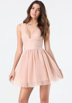 bebe Flare Puff Skirt Dress
