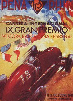 Car Race poster Gran Premio Peña-Rhin 1948 Pedralbes Barcelona