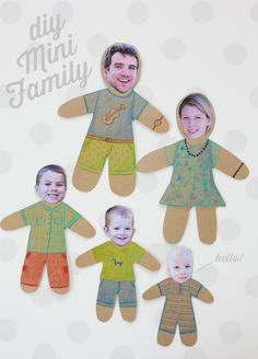 Play with your family photos - mini family dolls Diy For Kids, Crafts For Kids, Mr Printables, Family Theme, Brownie Girl Scouts, Toddler Preschool, Paper Dolls, Kids Playing, Fun Crafts