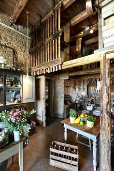Rustic Exposed Stone, Converted Barn | Kitchen Living Dinning. One of my dream homes has always been a converted barn ...
