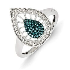 1/4 Carat Blue White Diamond Sterling Silver Fancy Ring Available Exclusively at Gemologica.com