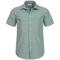 Trachtenhemd kurzarm in Dunkelgrün von Almsach Slim Fit, Button Down Shirt, Men Casual, Mens Tops, Shirts, Fashion, Red Color, Chic, Fashion Styles