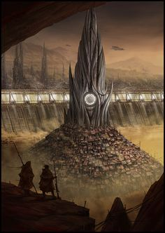 """DUNE by Mark Molnar """"Illustrations for the special edition of Frank Herbert's Dune """" Dune Book, Dune Series, Dune Art, Sci Fi Books, Science Fiction Art, Futuristic Architecture, Fantasy Landscape, Weird World, Illustrations"""