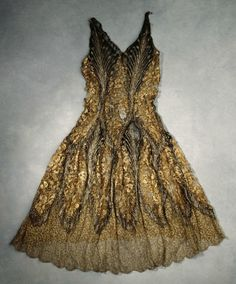 Evening Dress: ca. 1920-1929, metallic machine lace.