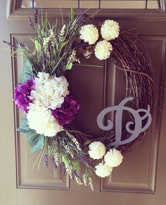 Monogram purple and white hydrangea wreath