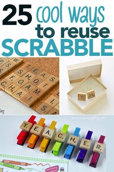 These scrabble tile DIY coasters are so cute! These would make great Christmas gifts or hostess gifts! Love how you can customize them for whatever you want – sports, drinks etc! Click through for the easy tutorial for DIY scrabble tile coasters! Scrabble Kunst, Scrabble Tile Art, Scrabble Board, Old Board Games, Game Boards, Board Game Pieces, Crafts To Sell, Fun Crafts, Home Decor