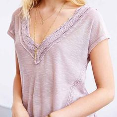 Kimchi blue lace v neck tee, medium Kimchi Blue size M lilac/taupe-ish tee with lace trimming. Super cute top! No tags but never worn! Fits more like a small or  xsmall to be honest. ⭐️CANT SHIP TILL JAN 6 2015⭐️ Urban Outfitters Tops