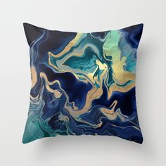 Dramaqueen - Gold Indigo Marble Throw Pillow by Monika Strigel - Cover x with pillow insert - Indoor Pillow Green Cushions, Gold Cushions, Velvet Cushions, Throw Cushions, Couch Pillows, Designer Throw Pillows, Down Pillows, Bed Sofa, Navy Pillows