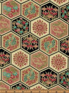 Asian Hexagons with Gold Metallic Accent - Asian Fanfare by Paintbrush Studios - 100% Cotton Fabric by QuiltsOnTheFly on Etsy