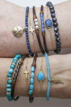 5 perfect gems leather bracelets-ocean colors