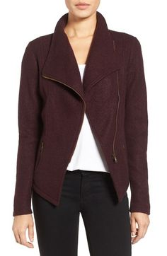 Knit moto jacket. Review says this one is a little itchy, but the drape is nice. $99 Halogen® Knit Moto Jacket Nordstrom