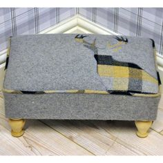 Grey & Yellow Deer Stags Head Check Tartan Footstool