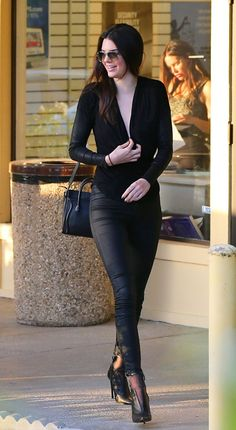 The star looks fabulous in head-to-toe black after grabbing sushi with a friend.