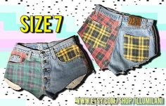 Plunge into grunge this summer with edgy, bold 1990s fashion trends resurrected. These unique shorts are made of the incredibly durable denim the 90s are famous for, and still have a ton of life left in them! The colorful, mismatched, asymmetrical pockets make these shorts anything but ordinary, and people will notice. Skip the traditional zipper, these shorts close in front with four buttons and fit above the hips at the waist for a truly retro, mom jeans look. Nowhere close to…