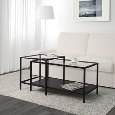 IKEA - VITTSJÖ, Nesting tables, set of white/glass, , The table tops in tempered glass are stain resistant and easy to clean.Stands evenly on uneven floors with the adjustable feet.Can be pushed together to save space. Ikea Nesting Tables, Ikea Side Table, Ikea Coffee Table, Black Coffee Tables, Glass Side Tables, Nesting Coffee Table, Glass Nest Of Tables, Ikea Glass Table, Coffee Tables
