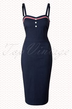 0691bbcb3e4 Steady Clothing - 50s Betty Bakes Pencil Dress in Navy Rockabilly Outfits