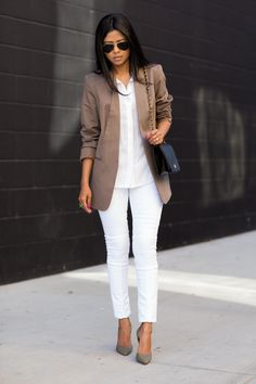 Hudson Jeans jeans, Target blazer, Chanel bag, InStyle x Nine West shoes, Ray-Ban sunglasses.