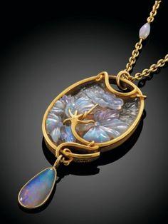 Lalique Art Nouveau Opal & Glass Gold Mounted Pendant: $96,100