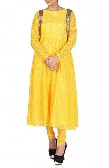 Yellow Laced Anarkali & Chudidar  Rs. 5,300