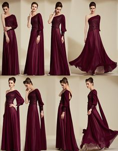 2015 Chic Red One Shoulder Chiffon Sequins Evening Dress With Sleeves- AU$ 329.99 - DressesMallAU.com