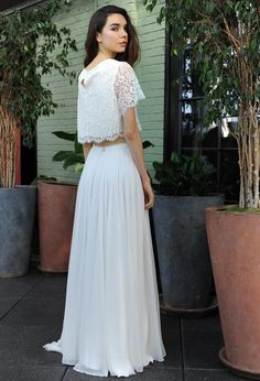 Sarah Seven crop top wedding dress with lace keyhole back bodice and flowy skirt Fall 2016 | https://www.theknot.com/content/sarah-seven-wedding-dresses-bridal-fashion-week-fall-2016