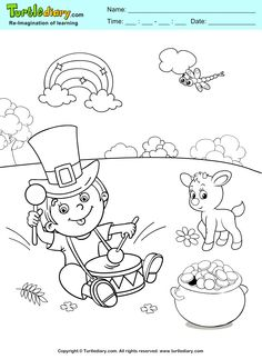 St. Patrick's Day Coloring Sheet #ChildEducation #Crafts #Coloring #Fun #Kids #TurtleDiary