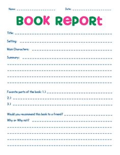 Free Book Report Form  Free Books Books And Homeschool