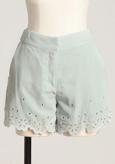 Fairway Mint Eyelet Cutout Shorts By Pink Martini via Ruche.